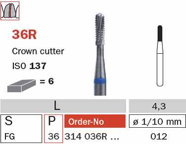 36R 314 012 Diaswiss Crown Cutter